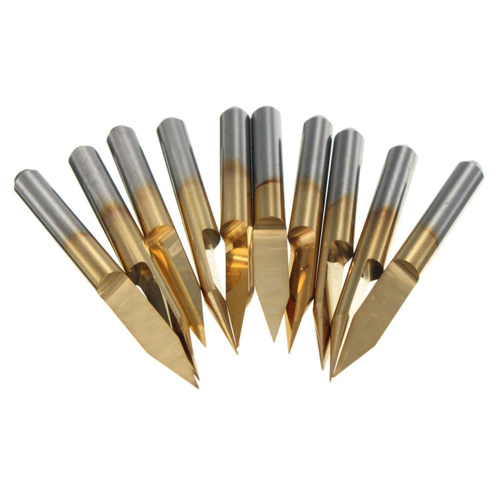 CNC Router Bits FLY MEN 10pcs 3.1750.97mm Titanium Coated Carbide End Milling Cutter Endmill for PCB Machine